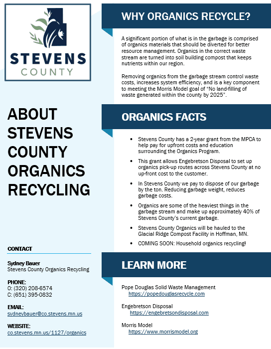 A screenshot of the About Stevens County Organics Recycling PDF