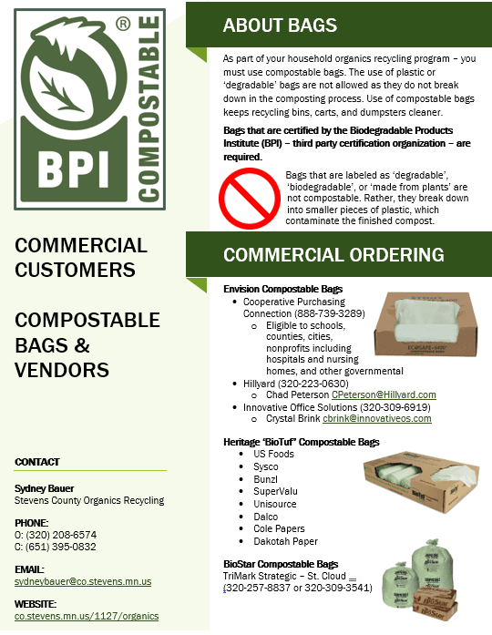 A screenshot of the Commercial Customers Compostable Bags and Vendors PDF