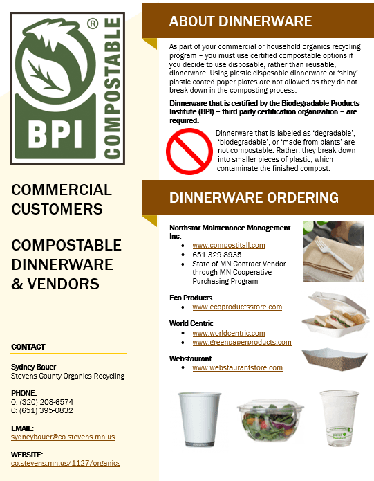 A screenshot of the Commercial Customers Compostable Dinnerware and Vendors PDF