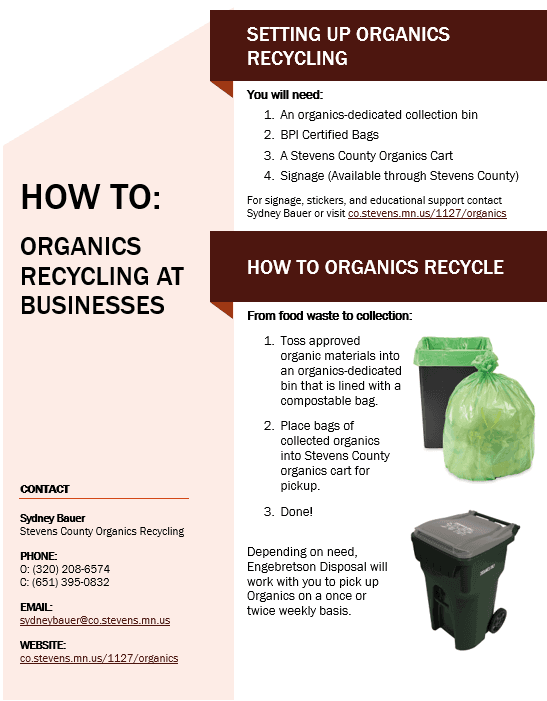 A screenshot of the How To Organics Recycling at Businesses PDF