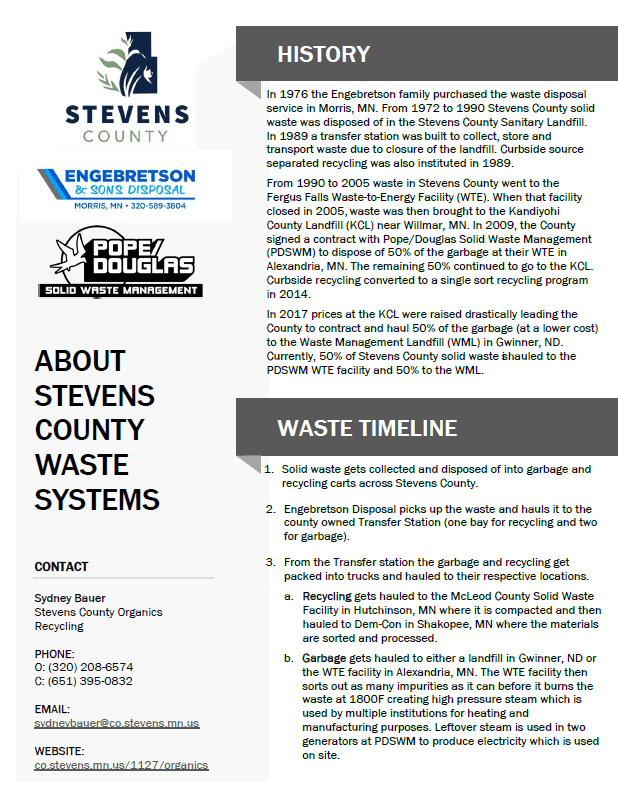 A screenshot of the About Stevens County Waste Systems PDF
